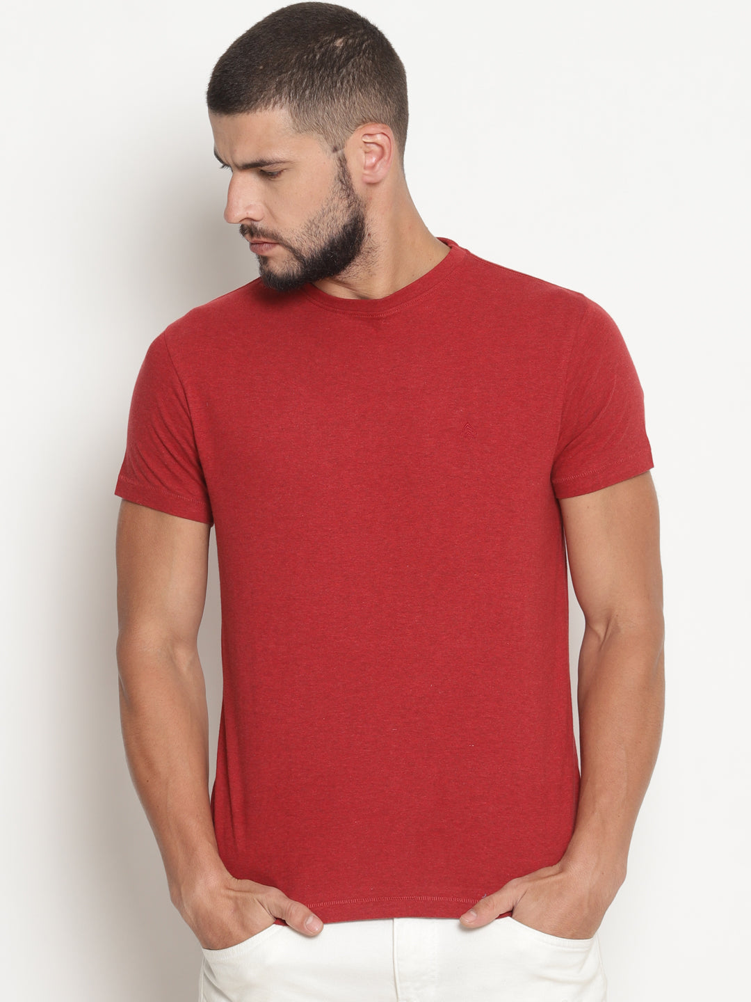 Men's Red Melange Crew Neck T-Shirt