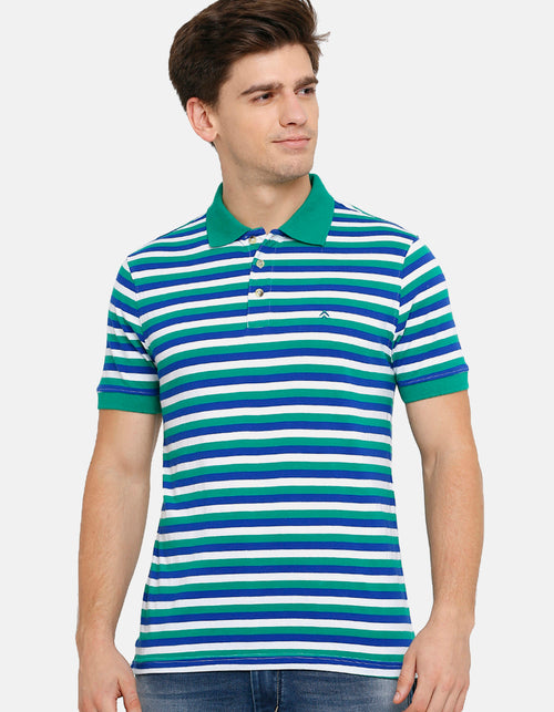 Men's White and Green Striped Blue Polo T-Shirt