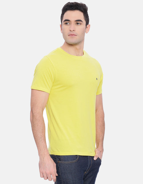 Men's Hampton Yellow Solid Crew Neck T-Shirt