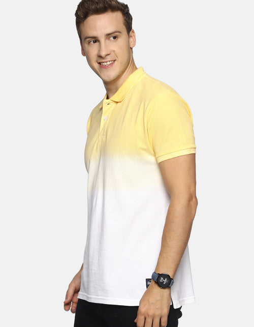 Men's Yellow Dip Dyed Polo T-shirt