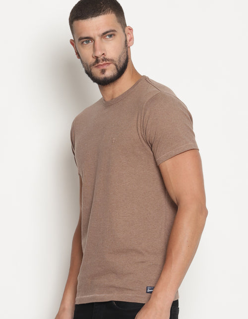 Men's Brown Melange Crew Neck T-Shirt