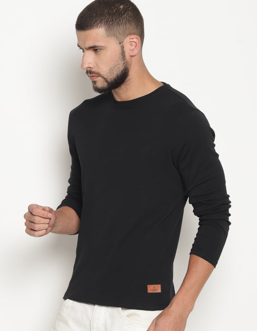 Men's Black Full Sleeve Crew Neck T-Shirt