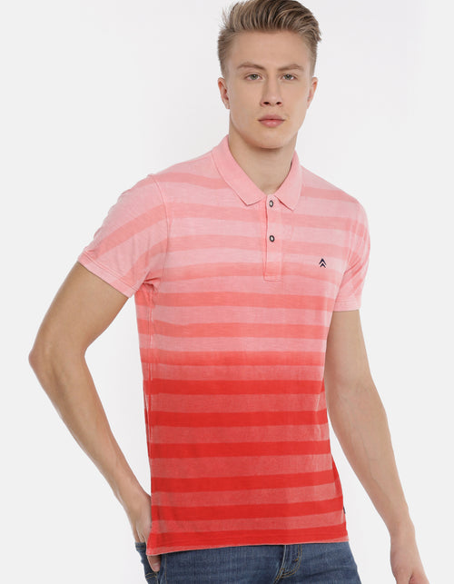 Men's Red & Pink Striped Polo Collar T-shirt