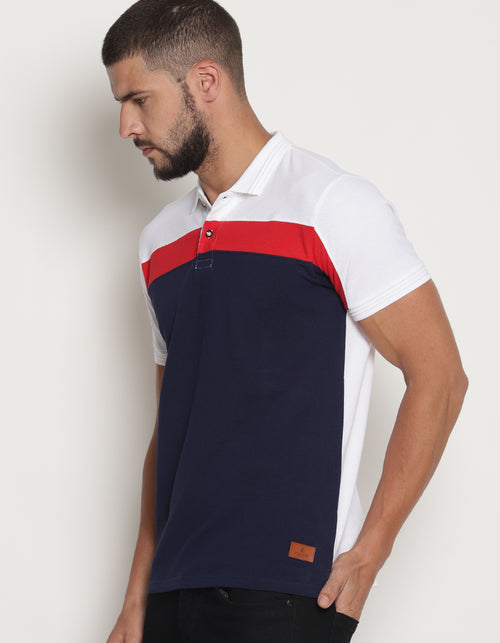 Men's Multi Color Cut & Sew Polo T-Shirt