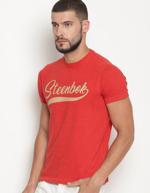 Men's Steenbok Leather Applique Crew Neck T-Shirt