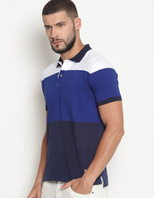 Men's Multi Colored Cut & Sew Polo T-Shirt
