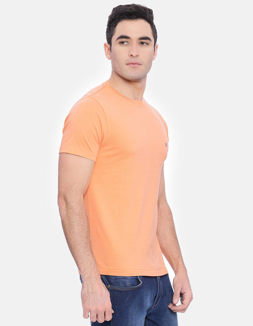 Men's Orange Solid Crew Neck T-Shirt