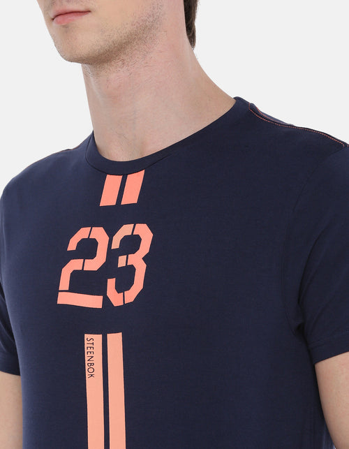 Men's Navy Blue Printed Crew Neck T-shirt