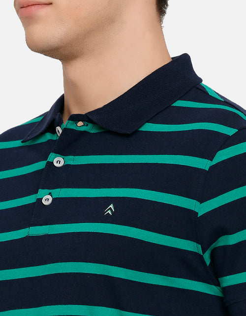 Men's Green Striped Navy Polo T-Shirt