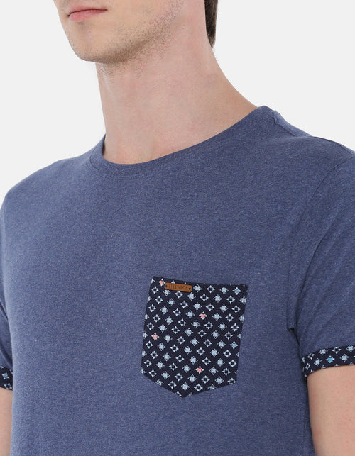 Men's Navy Heather Printed Crew Neck T-shirt.