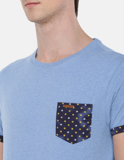 Men's Blue Heather Printed Crew Neck T-shirt.