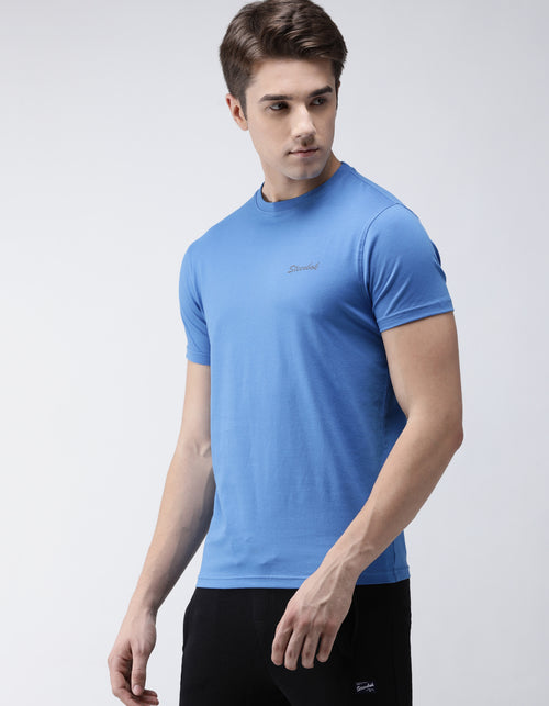 Men's Azure Blue Odour-Free Crew Neck Tee