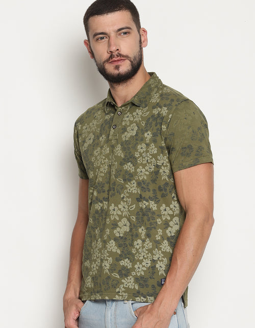 Men's Printed Polo Olive T-Shirt