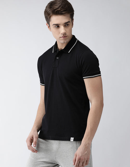 Men's Jet Black Go-Polo Odour-Free T-Shirt