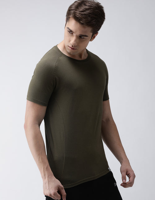 Men's Olive Green Raglan Odour-Free T-Shirt
