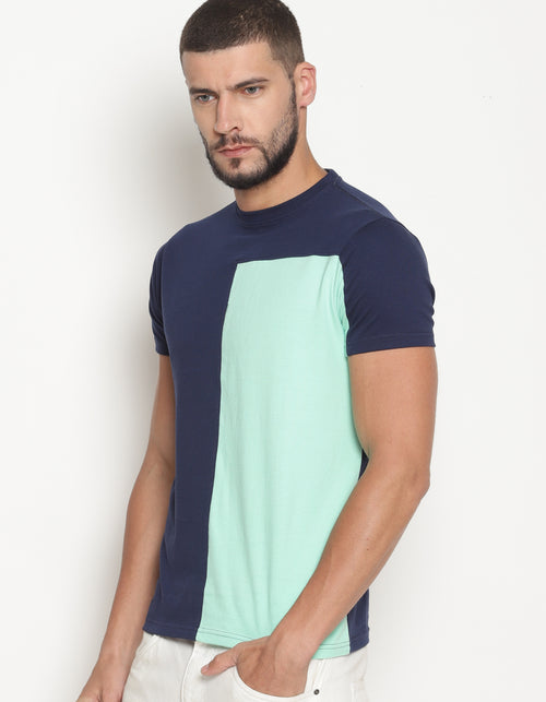 Men's Navy & Green Cut & Sew Crew Neck T- Shirt