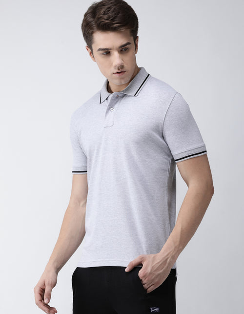 Men's Grey Melange Go-Polo Odour-Free T-Shirt