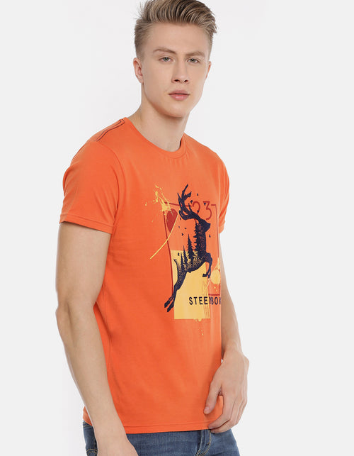 Men's Orange Printed Crew Neck T-Shirt