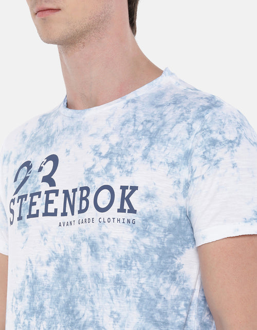 Men's Blue Tie & Dye Crew Neck T-shirt