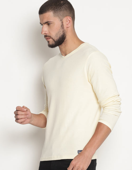 Men's Full Sleeve Off-White V-Neck