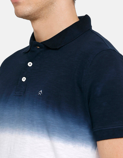 Men's Navy and White Polo T-Shirt