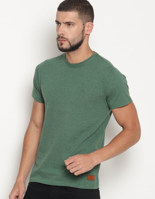 Men's Green Melange Crew Neck T-Shirt