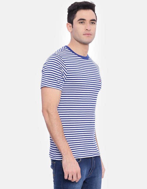 Men's White Striped Blue Crew Neck T-Shirt