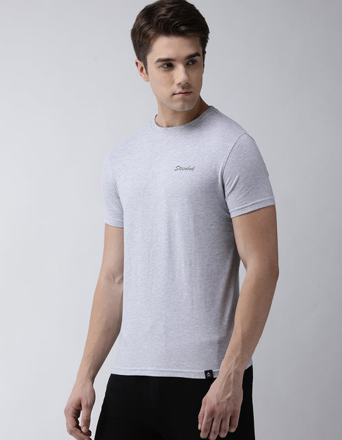 Men's Grey Melange Odour-Free Crew Neck Tee