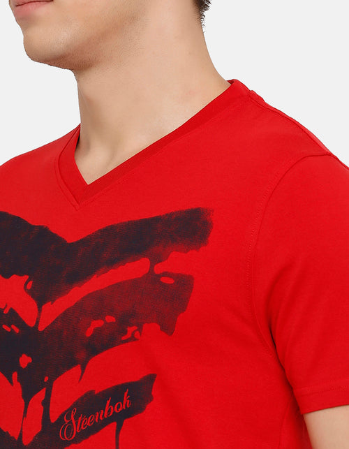 Men's Red Printed V Neck T-Shirt