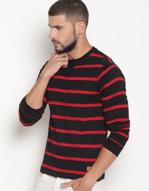 Men's Striped Full Sleeve Crew Neck T-Shirt