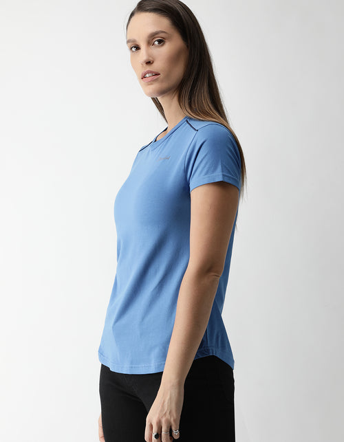 Women's Azure Blue Odour-Free Crew Neck T-Shirt