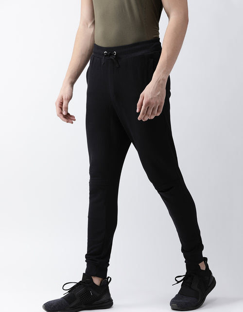 Men's Jet Black French Terry Cut Jogger