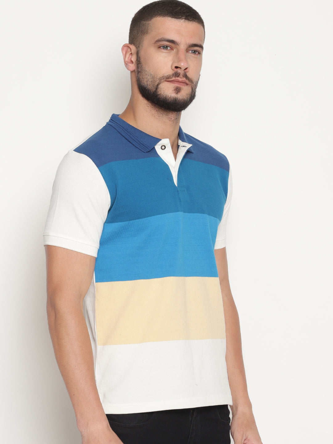 Men's Multi Colored Striped Polo T-Shirt