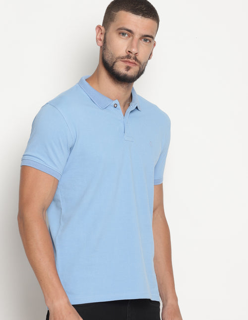 Men's Double Tuck Pique Colin Blue Polo T-Shirt