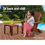Gardeon Outdoor Folding Beach Camping Chairs Table Set Wooden Adirondack Lounge