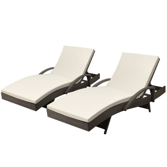 Gardeon Set of 2 Outdoor Sun Lounge Chair with Cushion- Grey