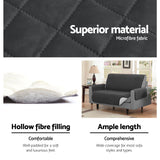 Artiss Sofa Cover Quilted Couch Covers Protector Slipcovers 3 Seater Dark Grey