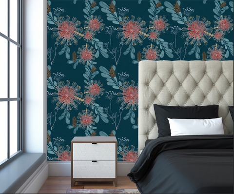 Vintage Banksias Wallpaper by Trudy Rice