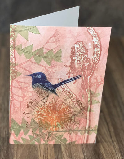 Greeting Card 'Blue Wren in a Pink Garden'