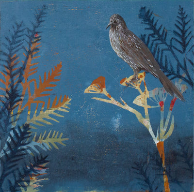 My favourite Wattlebird in the garden, original painting by Trudy Rice