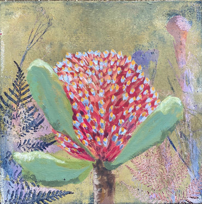 Red banksia painting by Trudy Rice, made in Australia