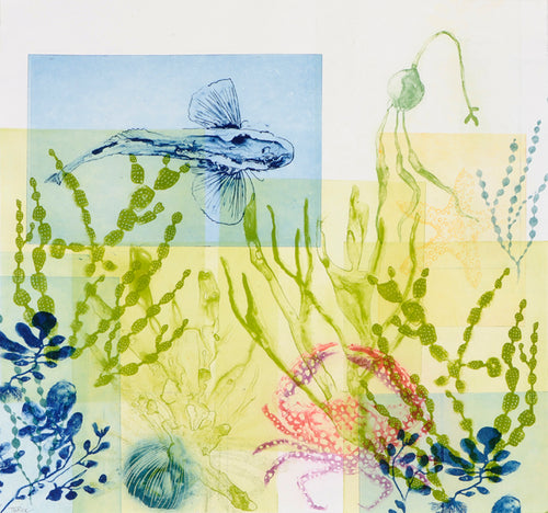 ARTWORK Drifting Seaweeds with Flying Fish & Spotty Crab