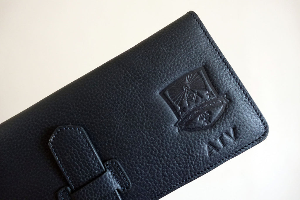 Leather goods with Custom corporate logo debossing