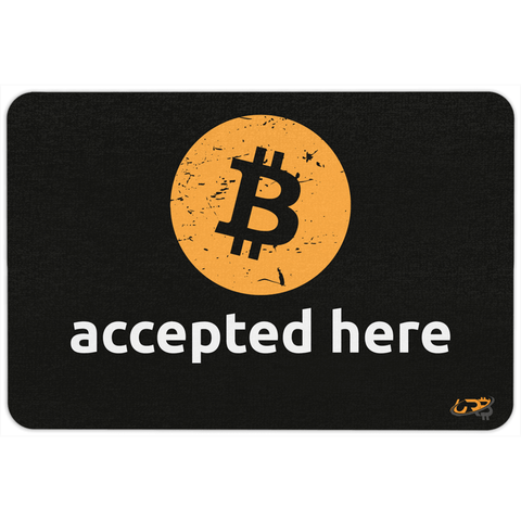 Bitcoin Accepted Here Floormat - Black - URBitcoinwear Bitcoin Fashion Store