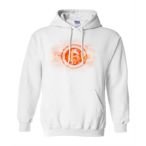 Bitcoin on Fire Hoodie - White - URBitcoinwear Bitcoin Fashion Store