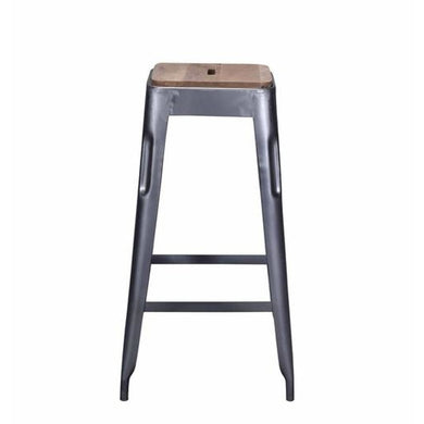 Tolix Style Bar Stool Grey - Iron With Wooden Seat