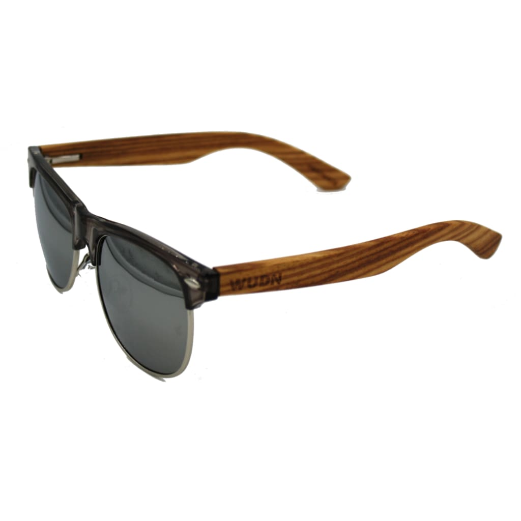 Mens & Womens Clear Grey Framed- Zebra Wood Clubmaster Sunglasses - Mirror Lenses / Product