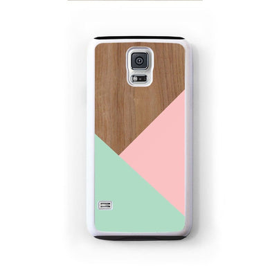 Wood Pink Turquoise Design For Galaxy S5 Home - Electronics
