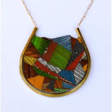 Multi Color End Cut Wood Circle Necklace Women - Jewelry - Necklaces