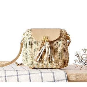 Wicker Bag With Tassle Beige Product